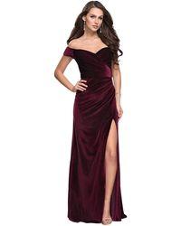 La Femme Off-shoulder Sheath Evening Gown With Slit 25213sc - Red
