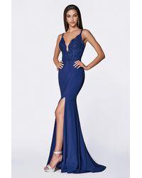 Cinderella Divine Lace Curved Deep V-neck Evening Dress - Blue