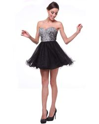Cinderella Divine Strapless Bejeweled Sweetheart A-line Dress - Black