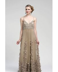 Sue Wong N1452 Spaghetti Straps Embellished Empire Gown - White