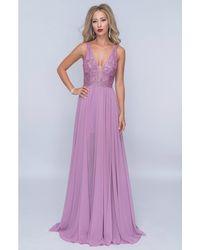 Nina Canacci Dazzling V-neck Pleated A-line Chiffon Gown - Purple