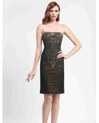Sue Wong N4143 Strapless Ruched Mesh Cocktail Dress - Black