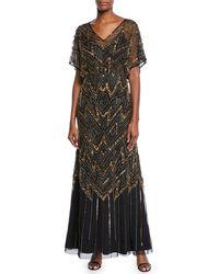 Aidan Mattox Dolman Sleeve Sequin Ornate Mesh Dress - Black