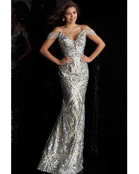 Jovani Art Deco Sequin Cold Shoulder Long Gown - Metallic