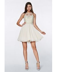 Cinderella Divine Beaded Lace Halter Chiffon Cocktail Dress - White