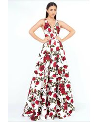 Ieena Duggal V Neck Gown Style 25399i - White