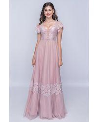 Nina Canacci Lace-up Panel Flutter Sleeve A-line Dress - Purple