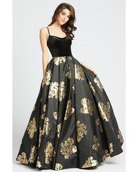 Ieena Duggal Velvet Scoop Satin Gold Patterned Gown C - Multicolour