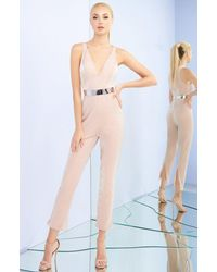 Ieena Duggal Plunging V-neck Jumpsuit With Slits C - Multicolour