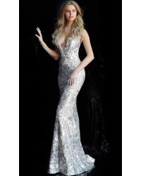 Jovani 65578 Sequined Plunging V-neck Evening Gown - Multicolour