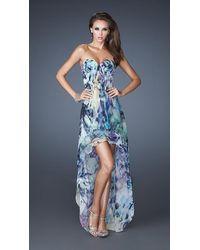 La Femme 19139 Pleated Sweetheart High Low Evening Dress - Blue