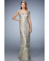 La Femme Lace Brocade Sheath Evening Gown - Metallic
