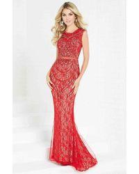Tiffany Designs Beaded Lace Cap Sleeve Bateau Sheath Dress - Red