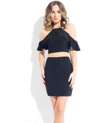 Rachel Allan Cold Shoulder Ruffled Ornate Cocktail Dress - Black