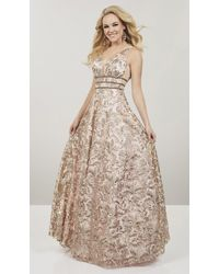 Panoply 14918 Embroidered Lace Deep V-neck A-line Dress - Metallic