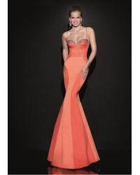 Tarik Ediz Sculpted Seamed Gown 92488 - Orange
