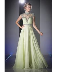 Cinderella Divine Beaded Illusion A-line Evening Dress - Multicolor