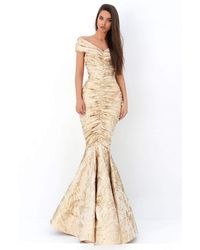 Tarik Ediz V Neck Ruched Mermaid Dress - Metallic
