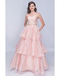 Nina Canacci Spaghetti Strap Embroidered Tiered A-line Dress - Pink
