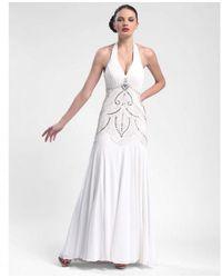 Sue Wong W5231 Sequined Art Deco Halter Dress - White