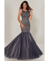 Tiffany Designs 16370 Beaded Cutout Back Glitter Mermaid Gown - Blue