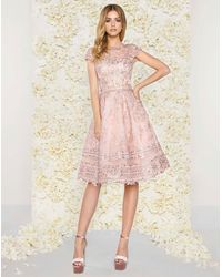 Mac Duggal C Illusion Bateau Pleated Lace Knee Length Dress - Pink