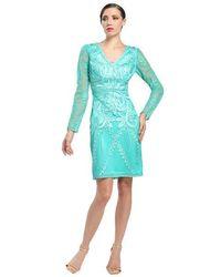 Sue Wong Long Sleeve Embroidered Sheath Dress - Blue