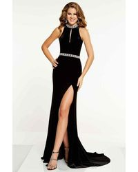 Panoply 14860 Keyhole Cutout Bejeweled Choker Velvet Gown - Black