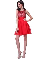Cinderella Divine Beaded Top Fit And Flare Dress - Red