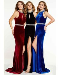 Panoply 14860 Keyhole Cutout Bejeweled Choker Velvet Gown - Blue