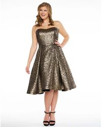 Mac Duggal C Strapless Jacquard Pleat Midi Dress - Multicolour