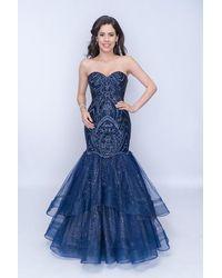 Nina Canacci Accented Sweetheart Tiered Mermaid Dress - Blue