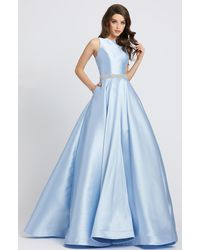 Ieena Duggal Sleeveless Crystal Beaded Belt A Line Gown C - Blue