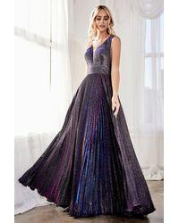Cinderella Divine Ch211 Plunging V-neck Pleated Glitter Dress - Purple
