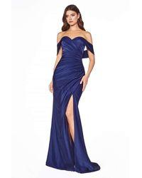 Cinderella Divine Kv1050 Off Shoulder Fitted Jersey Evening Gown - Blue