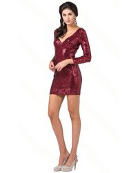 Dancing Queen Sequined Long Sleeve Fitted Dress - Red
