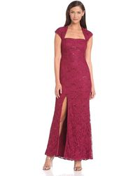 Adrianna Papell - Sequined Lace Gown - Lyst