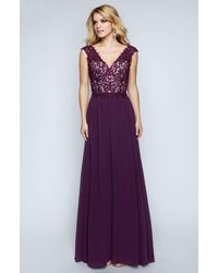 Nina Canacci 1449 Embellished Lace Bodice A Line Gown - Purple
