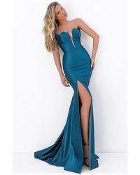 Tarik Ediz 50720 Illusion Plunging Neck High Slit Mermaid Dress - Blue