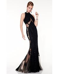 Panoply 14846 Sequined And Illusion Evening Gown - Black