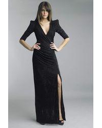 Basix Black Label V Neck Glitter High Slit Dress C - Black