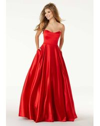 Mori Lee Strapless Sweetheart A-line Evening Gown - Red