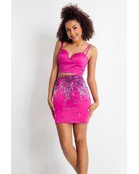 Rachel Allan 4677 Two Piece Sweetheart Beaded Cocktail Dress - Pink