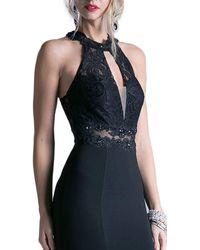 Cinderella Divine Embellished Lace Halter Fitted Dress - Black