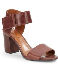 Enzo Angiolini Leather Block-Heel Sandals - Lyst