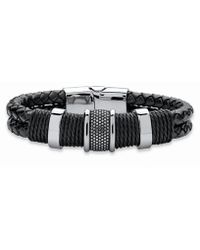 Palmbeach Jewelry - Men's Bracelet With Magnetic Clasp In Stainless Steel And Braided Black Leather 8'' - Lyst