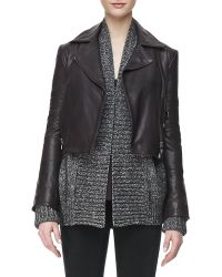 J Brand Aiah Leather Zipfront Jacket - Lyst
