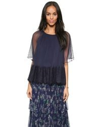 Marchesa Voyage - Micro Pleated Top - Navy/Black - Lyst