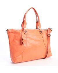 Olivia Harris Tangerine Leather Lock Detail Convertible Tote - Lyst