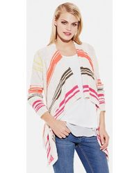 Two By Vince Camuto Stripe Drape Front Cardigan - Lyst
